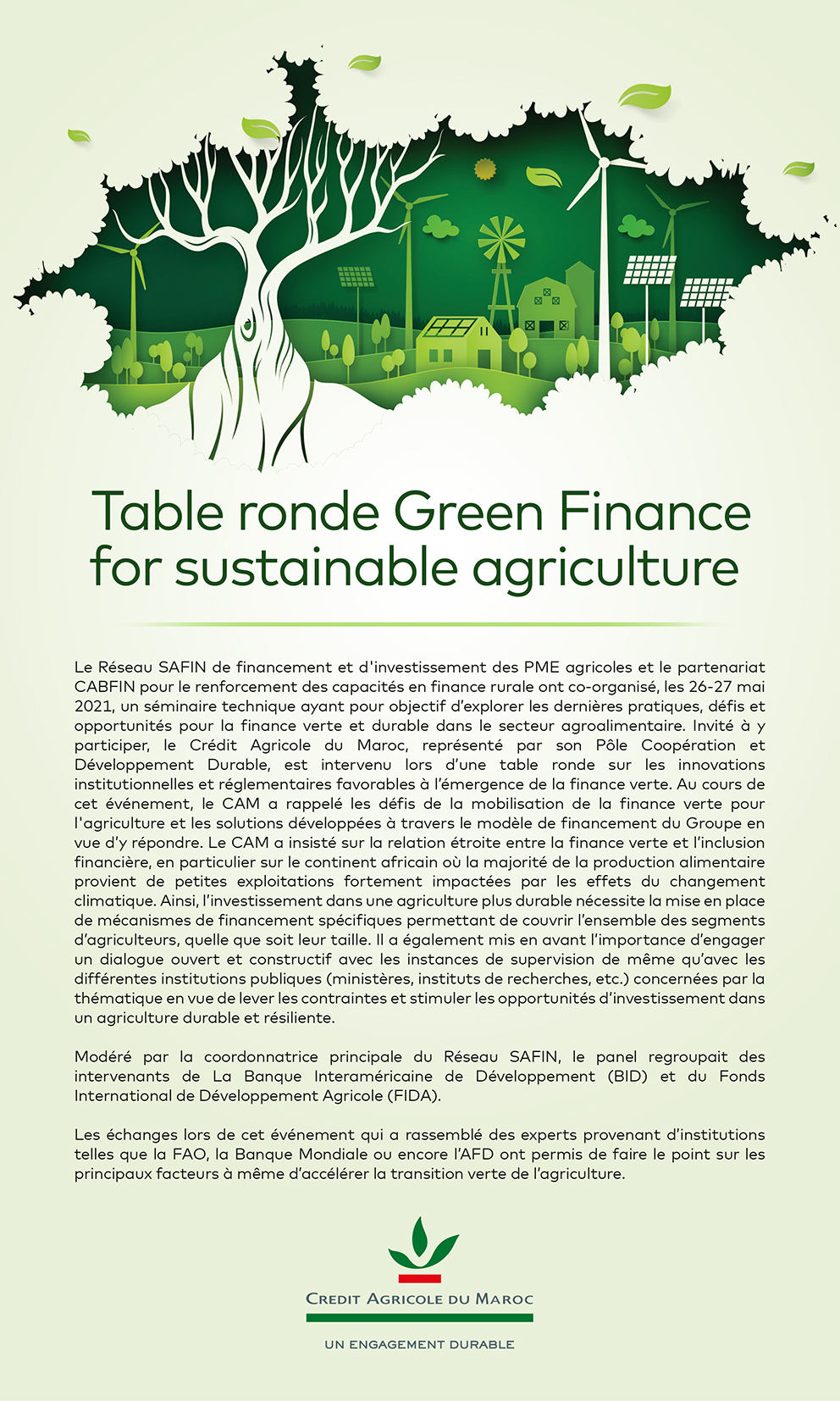 Table Ronde Green Finance for sustainable agriculture